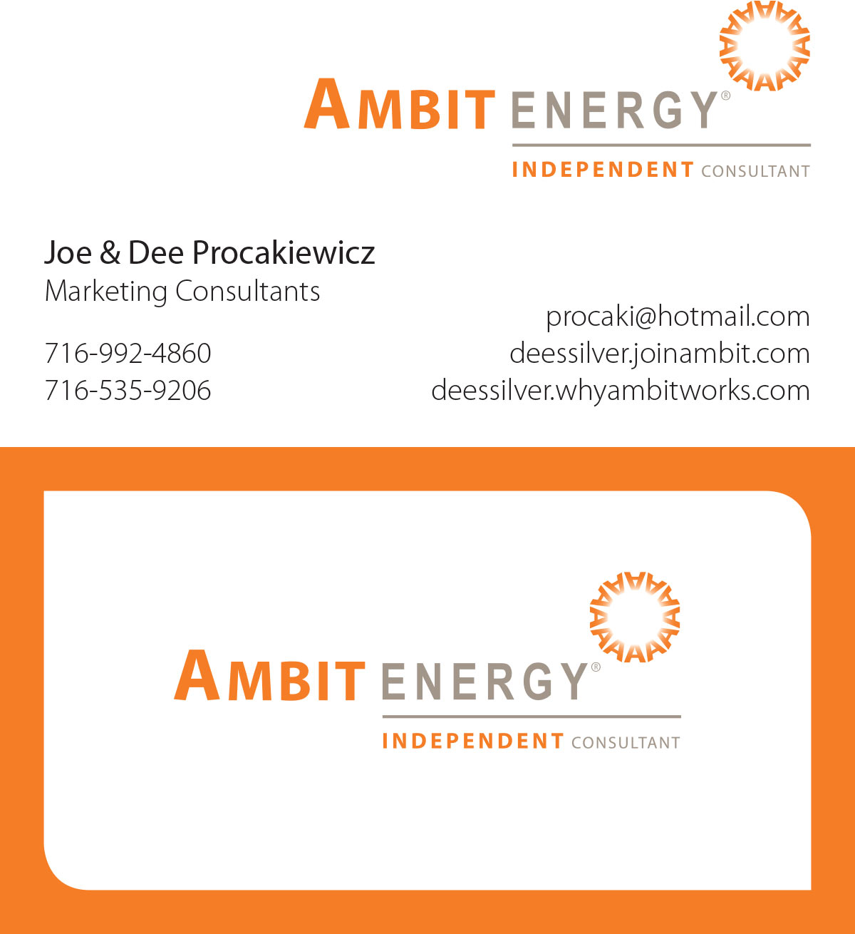 Business cards evenhouse printing for Ambit energy business card template